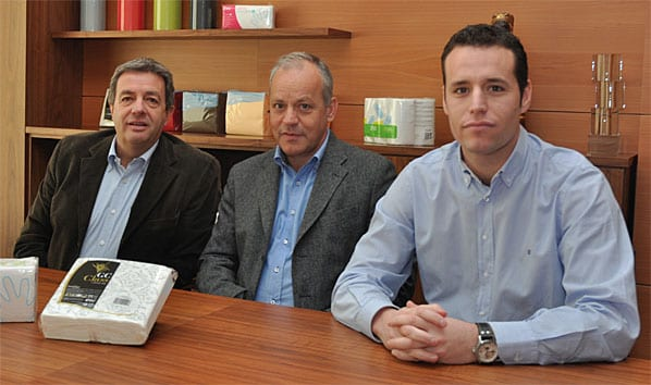 Tradition with an eye to the future: Chief executive Maties Gomà-Camps, left, his cousin paper mill manager Jordi Gomà-Camps Llorens, and Gomà-Camps Llorens' son production manager Jordi Gomà-Camps Travé.