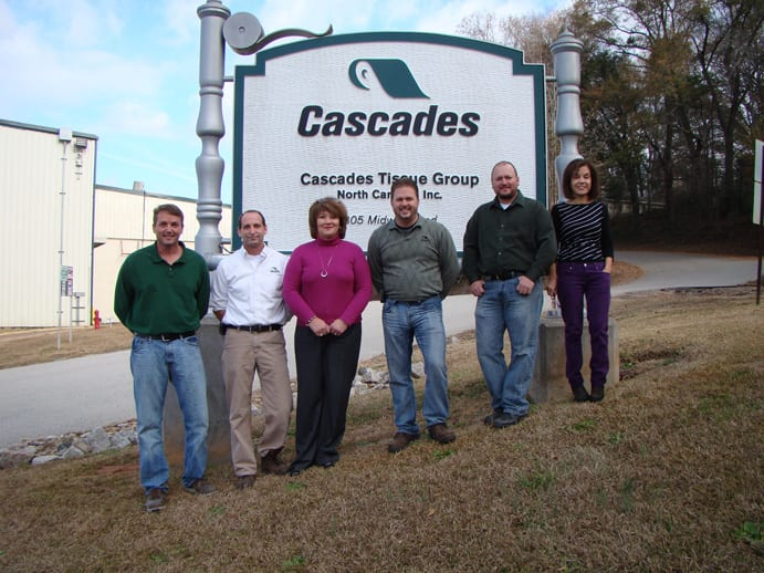 Department managers at the Rockingham, North Carolina site - (L-r) Adam Boulware, Eric Taylor, Deborah Currie, Mickey Lee, Jake Elder and Marie Slilaty.