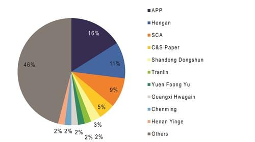 Graph 3: Tissue manufacturing concentration in China: capacity share