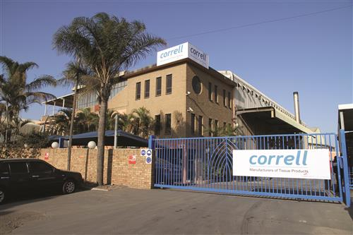 The Correll Tissue plant is located at Phoenix Industrial Park in Durban, KwaZulu-Natal