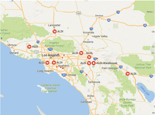 Map of initial Aldi locations in Southern California