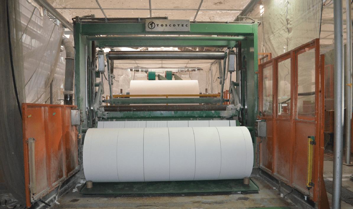 Rewinder combiner of second tissue line in operation