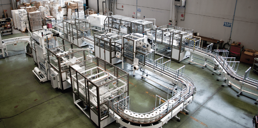 Microline's automatic packaging lines for industrial rolls