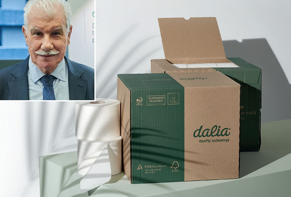 Rethinking consumer tissue: L.C. Paper chief executive Joan Vila, and an example of the company's tissue paper products